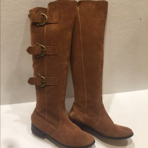 Suede Leather Knee High Boots 6.5